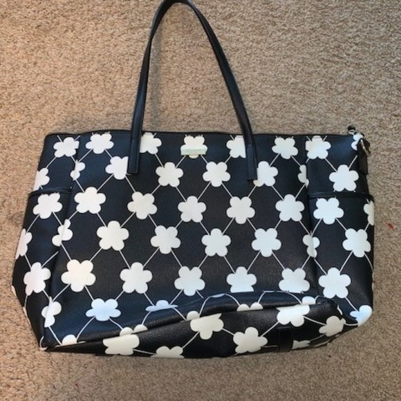 Kate Spade Black and White Floral Tote / Baby Bag